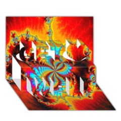 Crazy Mandelbrot Fractal Red Yellow Turquoise Get Well 3d Greeting Card (7x5) by EDDArt