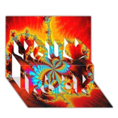 Crazy Mandelbrot Fractal Red Yellow Turquoise You Rock 3d Greeting Card (7x5) by EDDArt