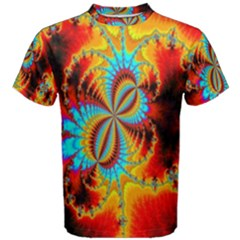 Crazy Mandelbrot Fractal Red Yellow Turquoise Men s Cotton Tee by EDDArt