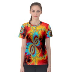 Crazy Mandelbrot Fractal Red Yellow Turquoise Women s Sport Mesh Tee by EDDArt