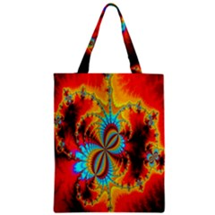 Crazy Mandelbrot Fractal Red Yellow Turquoise Classic Tote Bag by EDDArt