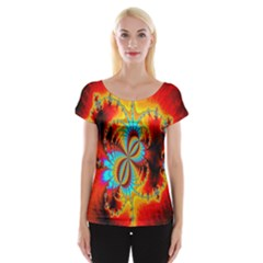 Crazy Mandelbrot Fractal Red Yellow Turquoise Women s Cap Sleeve Top by EDDArt