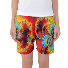 Crazy Mandelbrot Fractal Red Yellow Turquoise Women s Basketball Shorts by EDDArt
