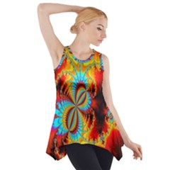 Crazy Mandelbrot Fractal Red Yellow Turquoise Side Drop Tank Tunic by EDDArt