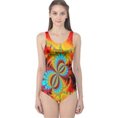 Crazy Mandelbrot Fractal Red Yellow Turquoise One Piece Swimsuit by EDDArt