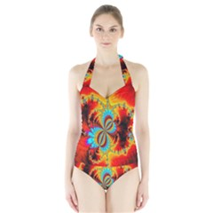 Crazy Mandelbrot Fractal Red Yellow Turquoise Halter Swimsuit by EDDArt