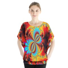 Crazy Mandelbrot Fractal Red Yellow Turquoise Blouse by EDDArt