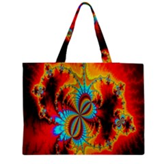 Crazy Mandelbrot Fractal Red Yellow Turquoise Medium Zipper Tote Bag by EDDArt