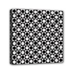 Modern Dots In Squares Mosaic Black White Mini Canvas 6  x 6