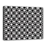 Modern Dots In Squares Mosaic Black White Canvas 20  x 16