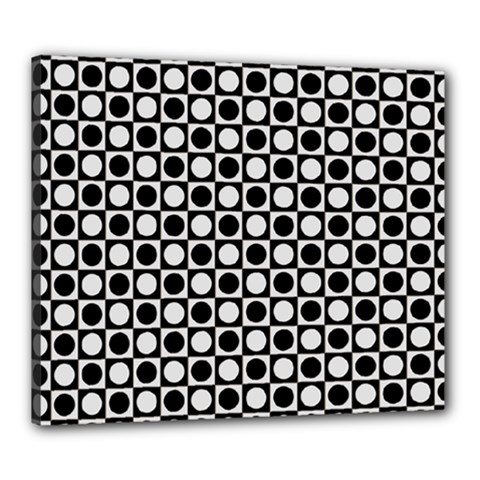 Modern Dots In Squares Mosaic Black White Canvas 24  X 20  by EDDArt
