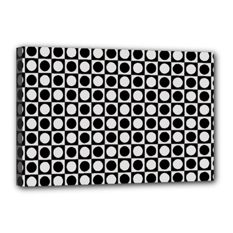 Modern Dots In Squares Mosaic Black White Canvas 18  X 12  by EDDArt