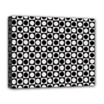 Modern Dots In Squares Mosaic Black White Deluxe Canvas 20  x 16