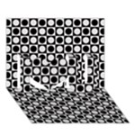 Modern Dots In Squares Mosaic Black White I Love You 3D Greeting Card (7x5)