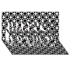 Modern Dots In Squares Mosaic Black White Happy Birthday 3d Greeting Card (8x4) by EDDArt