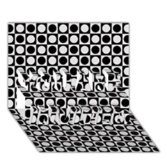 Modern Dots In Squares Mosaic Black White You Are Invited 3d Greeting Card (7x5) by EDDArt