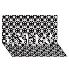 Modern Dots In Squares Mosaic Black White Sorry 3d Greeting Card (8x4) by EDDArt