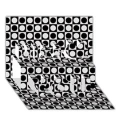 Modern Dots In Squares Mosaic Black White Miss You 3d Greeting Card (7x5) by EDDArt