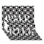 Modern Dots In Squares Mosaic Black White WORK HARD 3D Greeting Card (7x5)