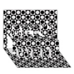 Modern Dots In Squares Mosaic Black White Get Well 3D Greeting Card (7x5)