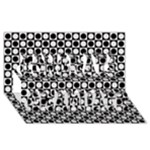 Modern Dots In Squares Mosaic Black White Congrats Graduate 3D Greeting Card (8x4)