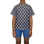 Modern Dots In Squares Mosaic Black White Kids  Short Sleeve Swimwear