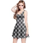 Modern Dots In Squares Mosaic Black White Reversible Sleeveless Dress