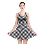 Modern Dots In Squares Mosaic Black White Reversible Skater Dress