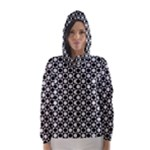 Modern Dots In Squares Mosaic Black White Hooded Wind Breaker (Women)