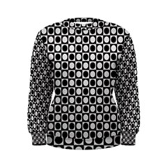 Modern Dots In Squares Mosaic Black White Women s Sweatshirt by EDDArt