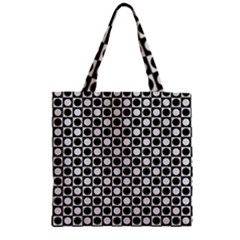 Modern Dots In Squares Mosaic Black White Zipper Grocery Tote Bag by EDDArt