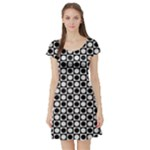 Modern Dots In Squares Mosaic Black White Short Sleeve Skater Dress