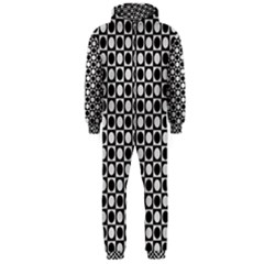Modern Dots In Squares Mosaic Black White Hooded Jumpsuit (men)  by EDDArt