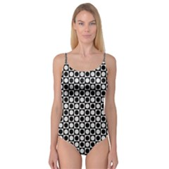 Modern Dots In Squares Mosaic Black White Camisole Leotard  by EDDArt