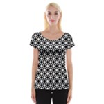 Modern Dots In Squares Mosaic Black White Women s Cap Sleeve Top
