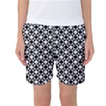 Modern Dots In Squares Mosaic Black White Women s Basketball Shorts