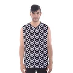Modern Dots In Squares Mosaic Black White Men s Basketball Tank Top by EDDArt