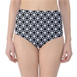Modern Dots In Squares Mosaic Black White High-Waist Bikini Bottoms