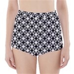 Modern Dots In Squares Mosaic Black White High-Waisted Bikini Bottoms
