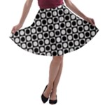 Modern Dots In Squares Mosaic Black White A-line Skater Skirt