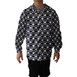 Modern Dots In Squares Mosaic Black White Hooded Wind Breaker (Kids)
