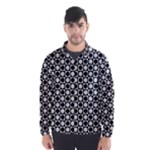 Modern Dots In Squares Mosaic Black White Wind Breaker (Men)