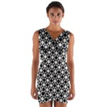 Modern Dots In Squares Mosaic Black White Wrap Front Bodycon Dress