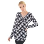Modern Dots In Squares Mosaic Black White Women s Tie Up Tee