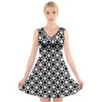 Modern Dots In Squares Mosaic Black White V-Neck Sleeveless Skater Dress