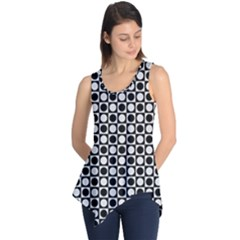 Modern Dots In Squares Mosaic Black White Sleeveless Tunic by EDDArt