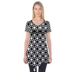 Modern Dots In Squares Mosaic Black White Short Sleeve Tunic  by EDDArt