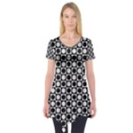 Modern Dots In Squares Mosaic Black White Short Sleeve Tunic