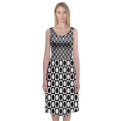 Modern Dots In Squares Mosaic Black White Midi Sleeveless Dress by EDDArt