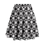 Modern Dots In Squares Mosaic Black White High Waist Skirt